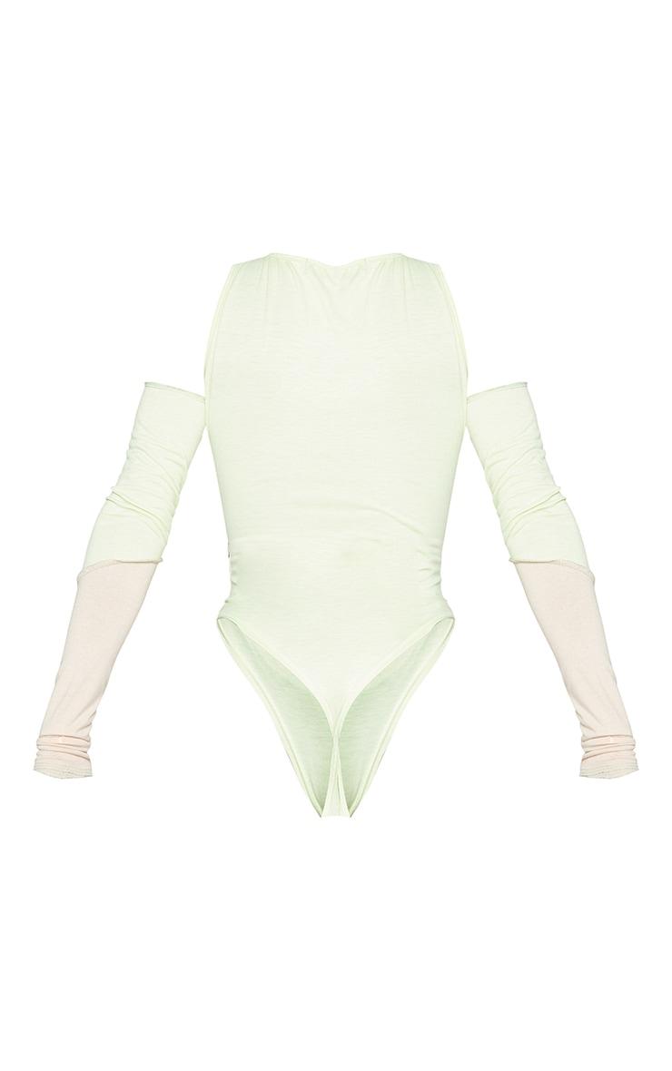 Shape Lime Panel Cut Out Overlock Seam Detail Bodysuit 6
