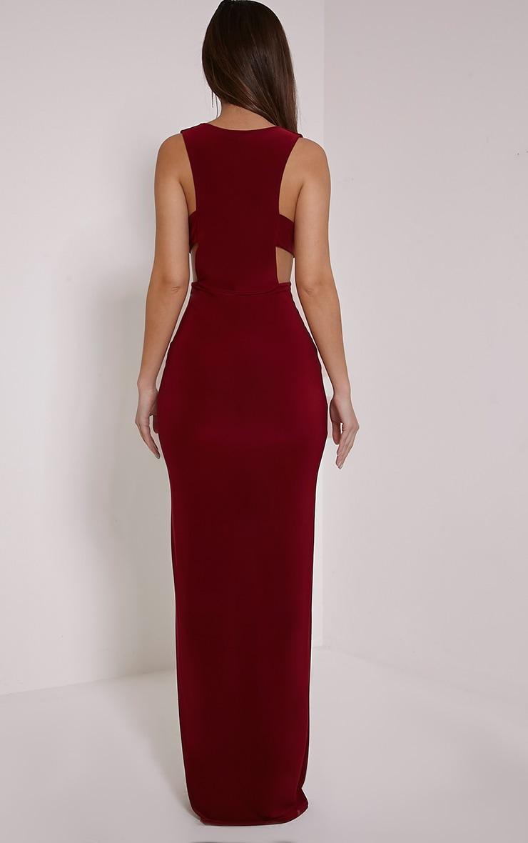 Mayah Burgundy Deep Plunge Tab Side Maxi Dress 2