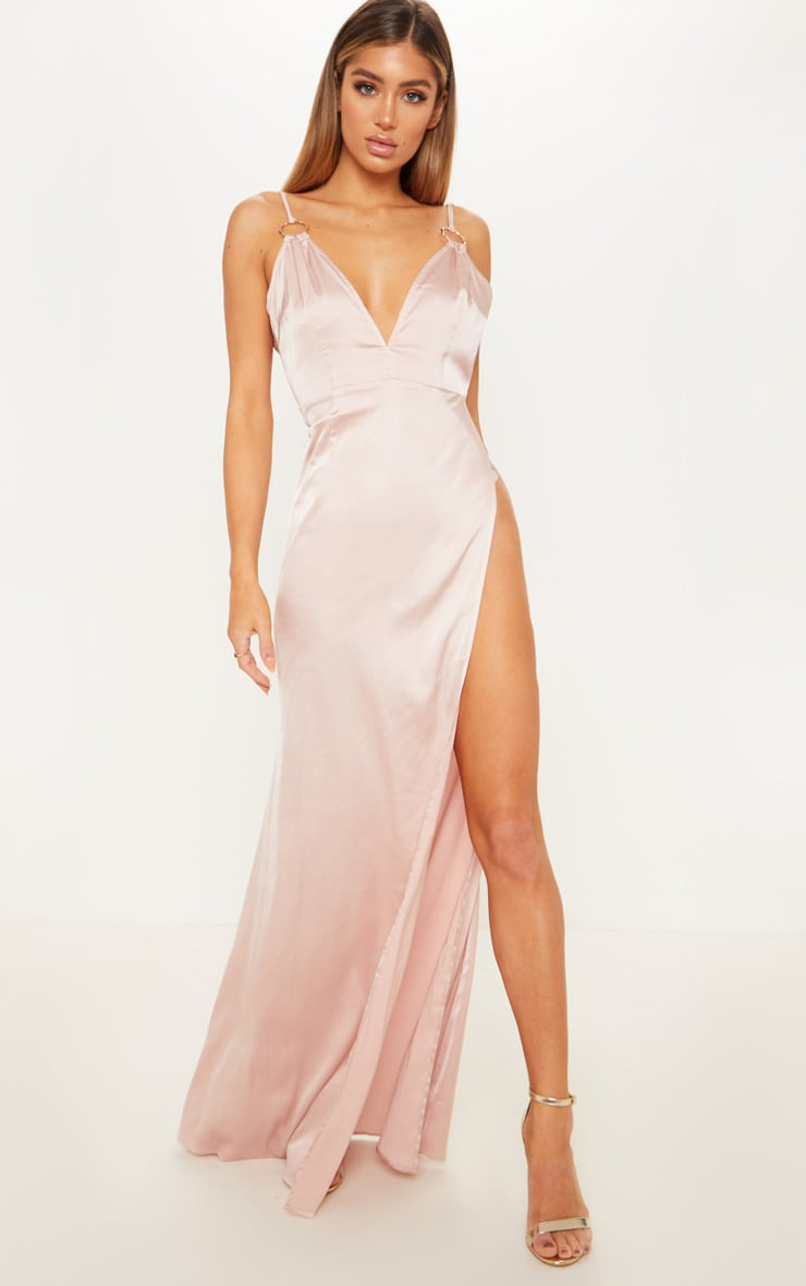 Champagne Ring Detail Extreme Plunge Maxi Dress