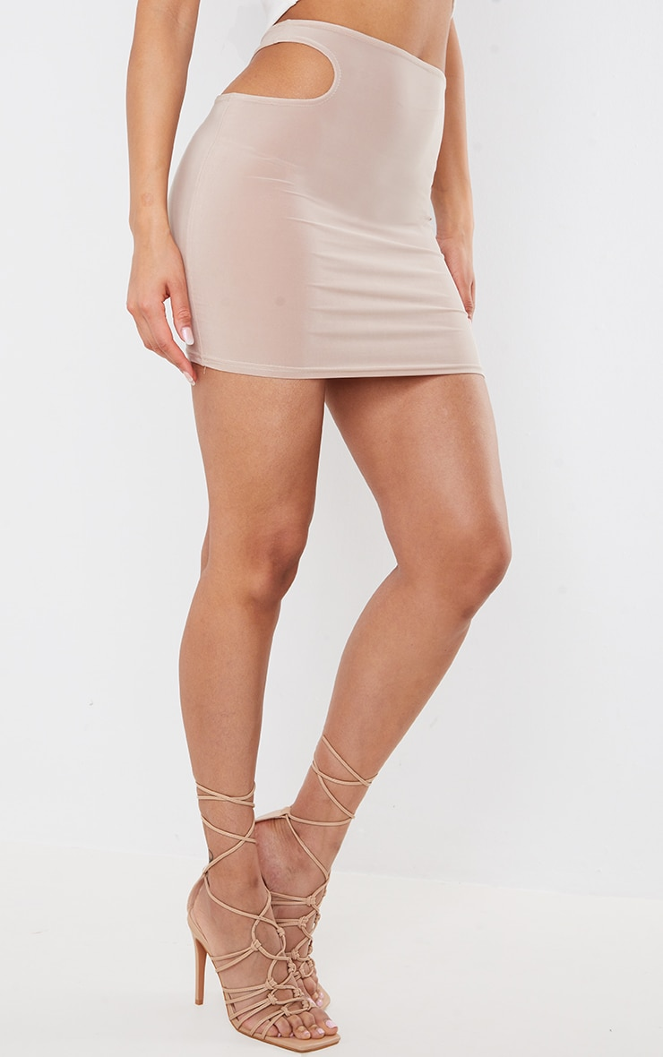 Stone Slinky Cut Out Detail Mini Skirt 2