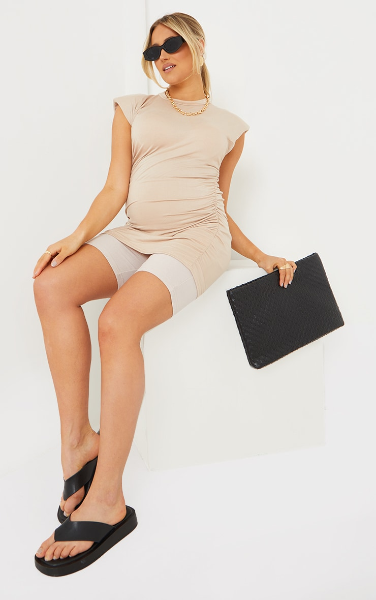 Maternity Nude Ruched Bump Shoulder Pad T Shirt 1