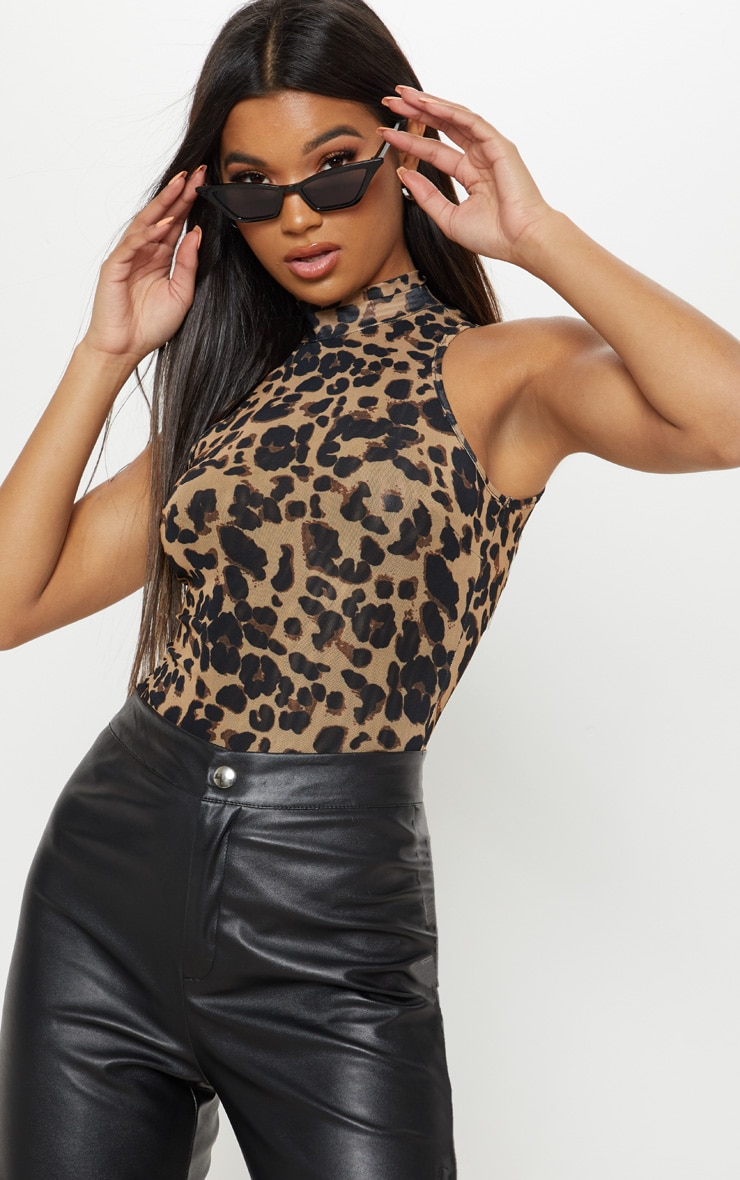 Brown Leopard Mesh Sleeveless High Neck Bodysuit 1