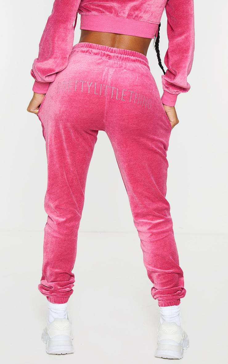 PRETTYLITTLETHING Shape Hot Pink Velour Skinny Joggers 3