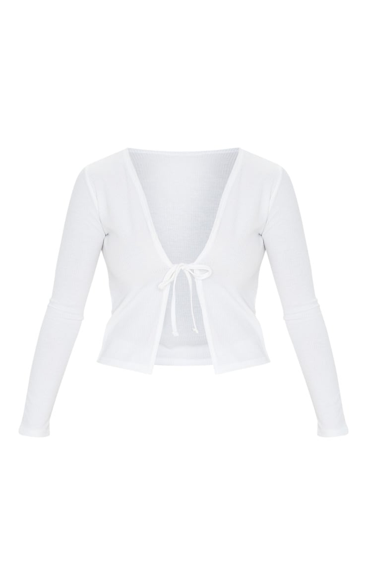 White Rib Tie Front Long Sleeve Crop Top 3