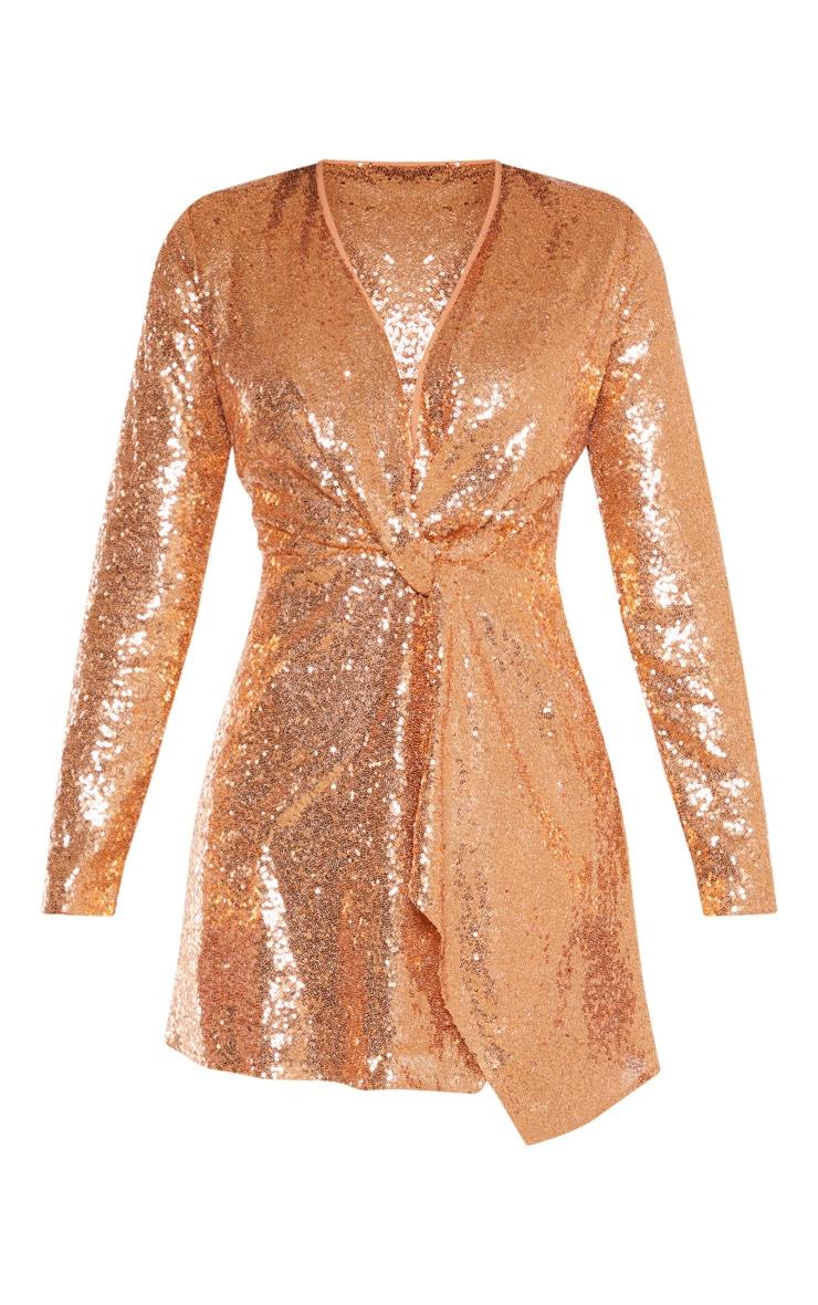 Bronze Sequin Twist Front Bodycon Dress 3