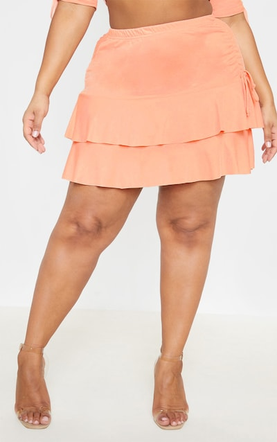 Plus Peach Ruched Side Frill Detail Skirt