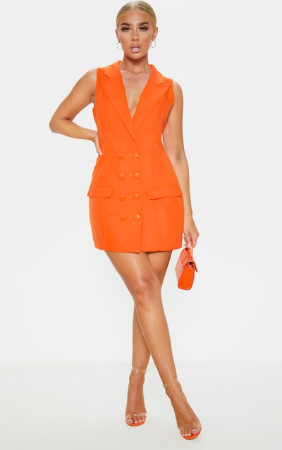 Orange Extreme Plunge Sleeveless Blazer Dress