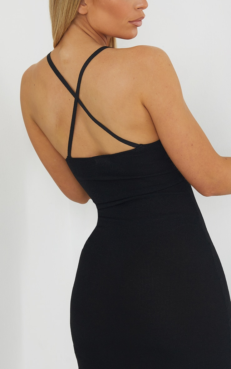 Black Premium Knit Cross Back Strap Glitter Dress 4