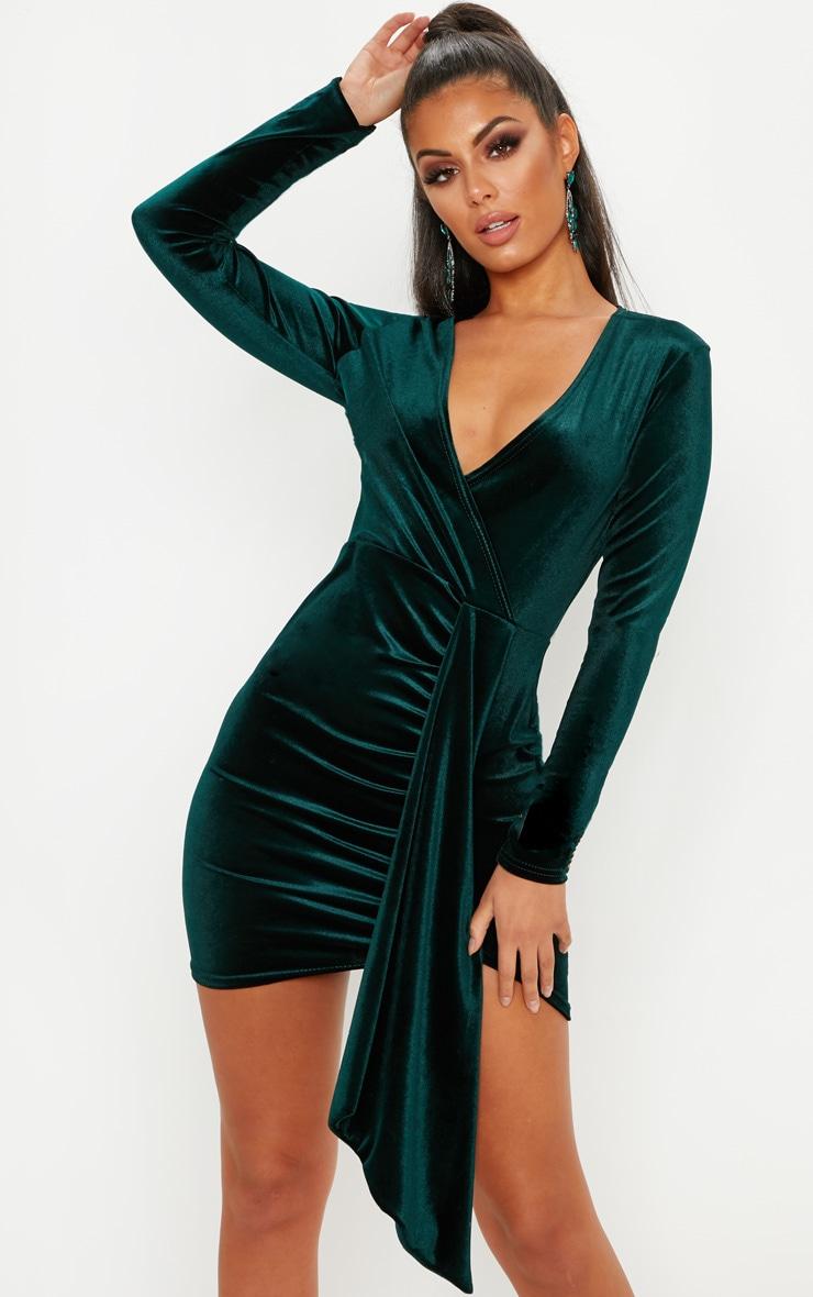 Emerald Green Velvet Drape Detail Bodycon Dress 1