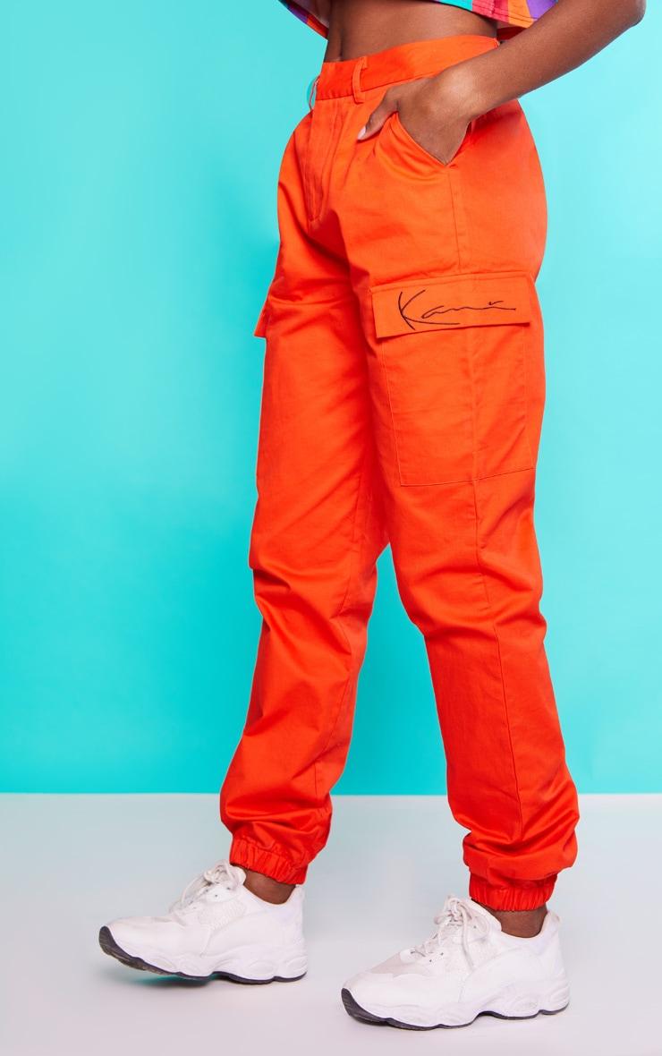 KARL KANI Orange Cargo Trousers 3