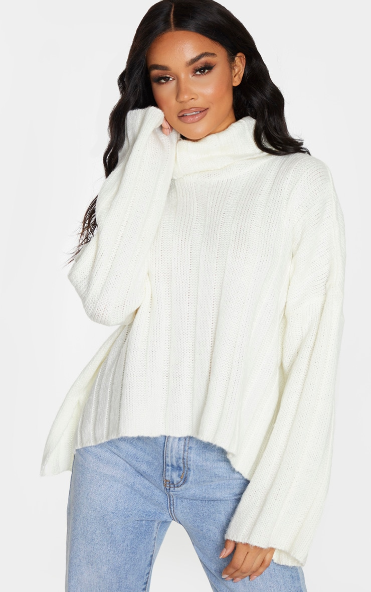 Cream Fluffy Knit Ribbed Slouchy Sweater 1