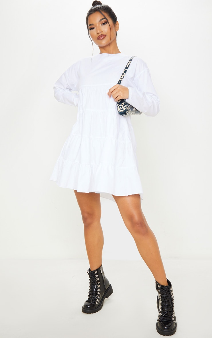 White Tiered Long Sleeve Crew Neck Smock Dress 1