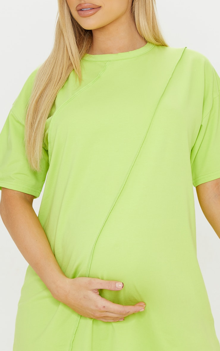 Maternity Lime Washed Lime Oversized Seam Detail T-Shirt Dress 4
