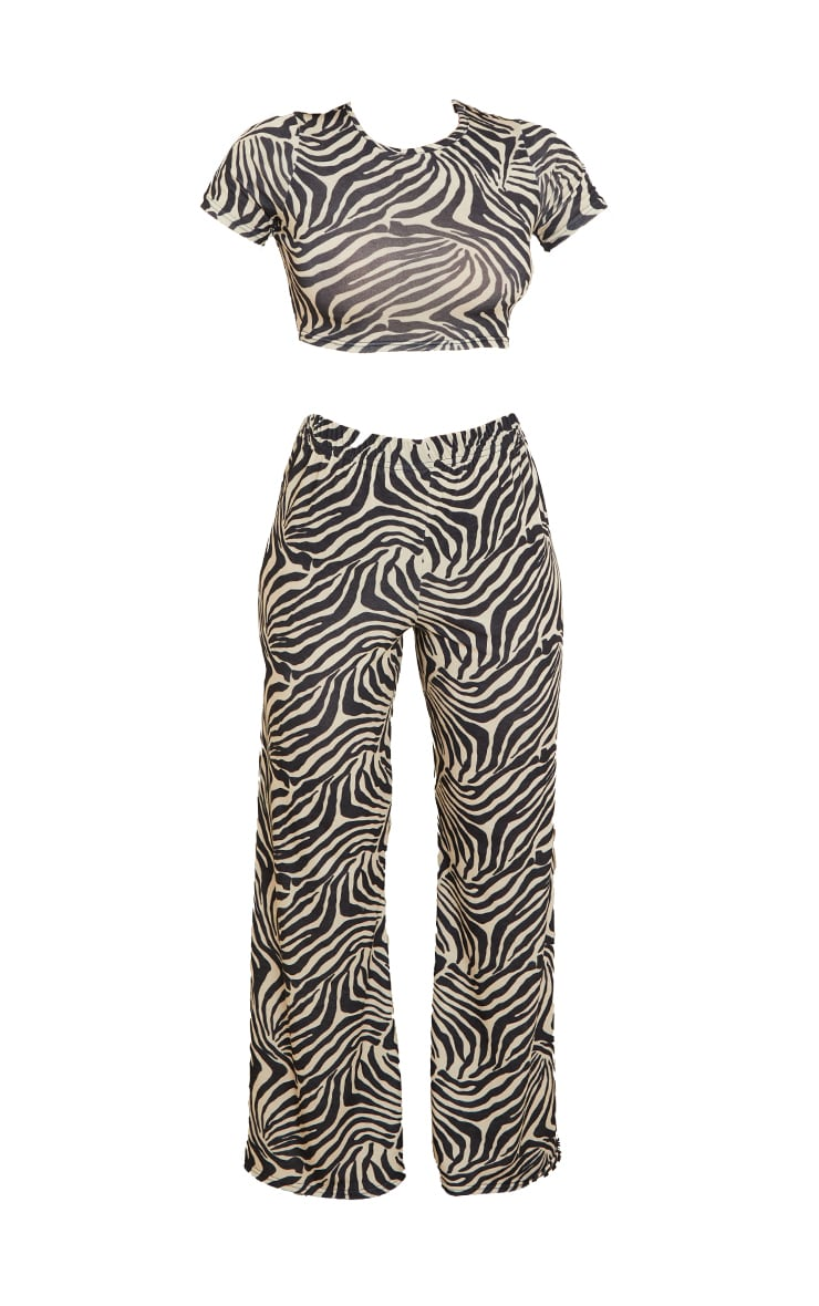 Black Zebra Print Long Pj Set 5