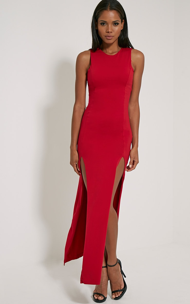 Karina Red Front Split Dress 4