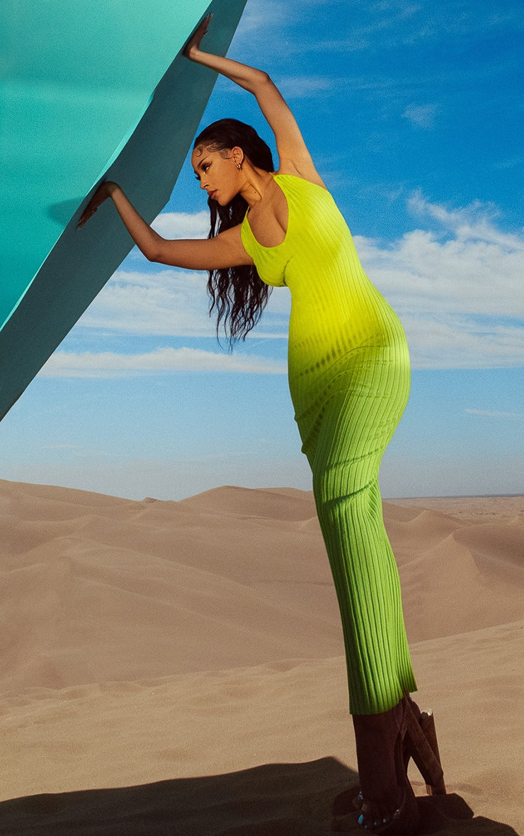 Lime Knitted Plunge Maxi Dress 3