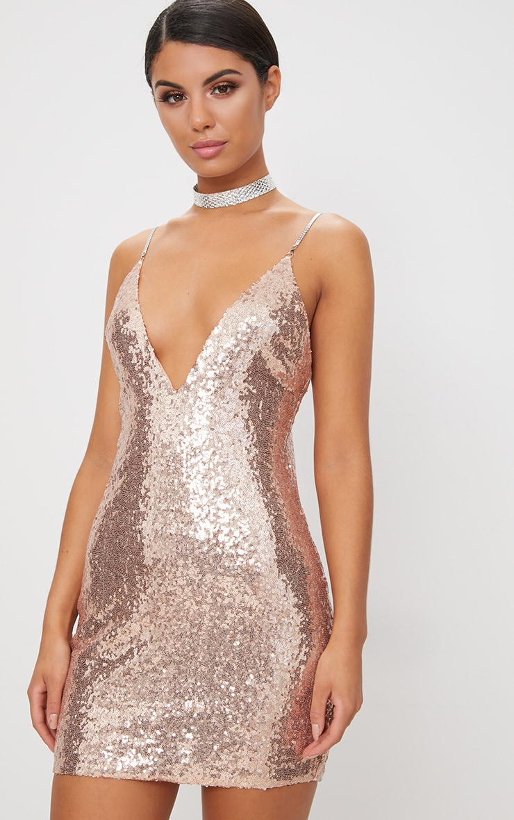 Rose Gold Chain Strap Sequin Plunge Bodycon Dress  2