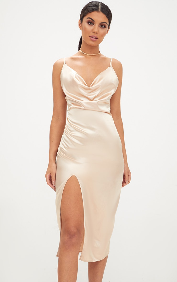 Champagne Strappy Satin Cowl Neck Midi Dress 1