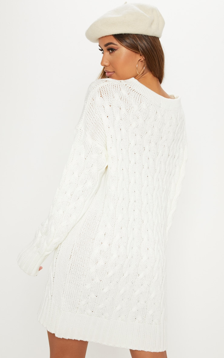 Cream Cable Detail Knitted Jumper Dress  2
