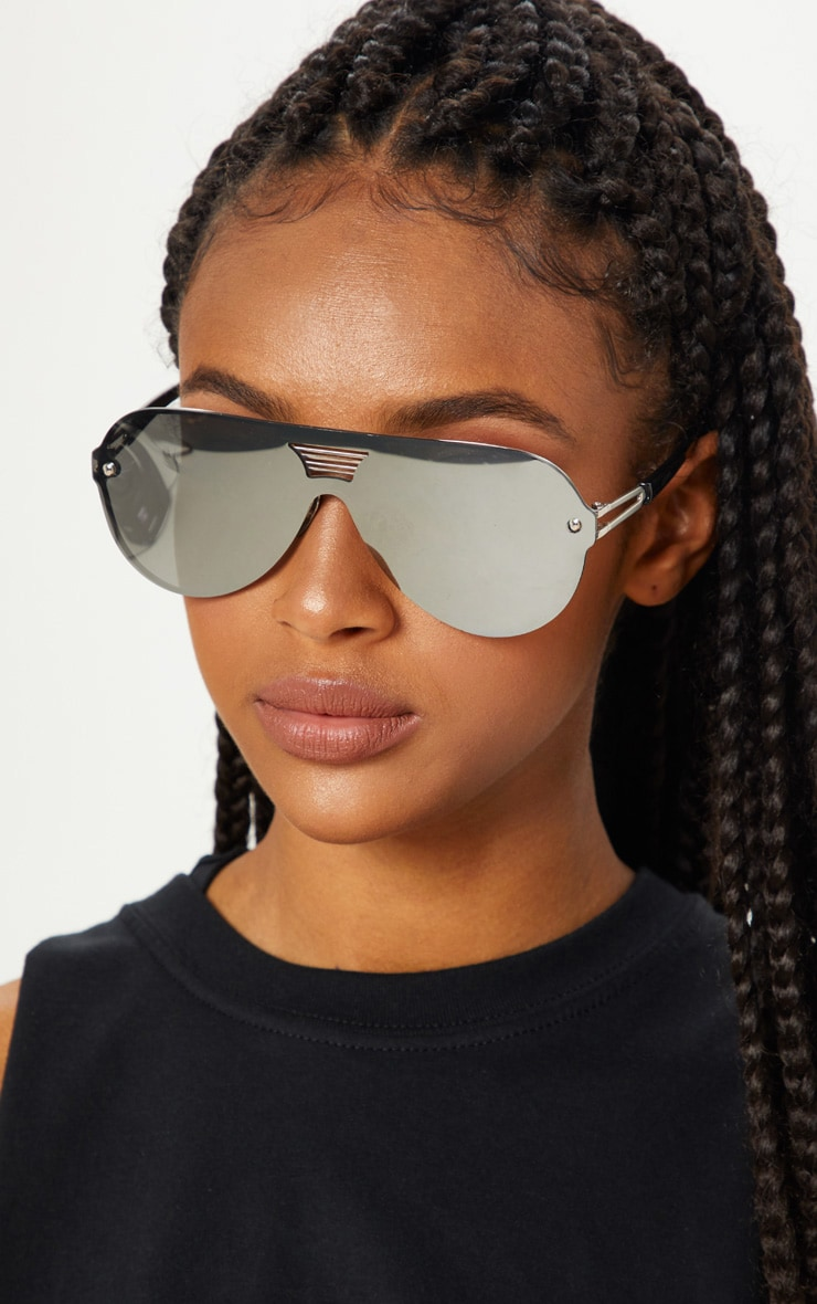 Silver Mirror Oversized Aviator