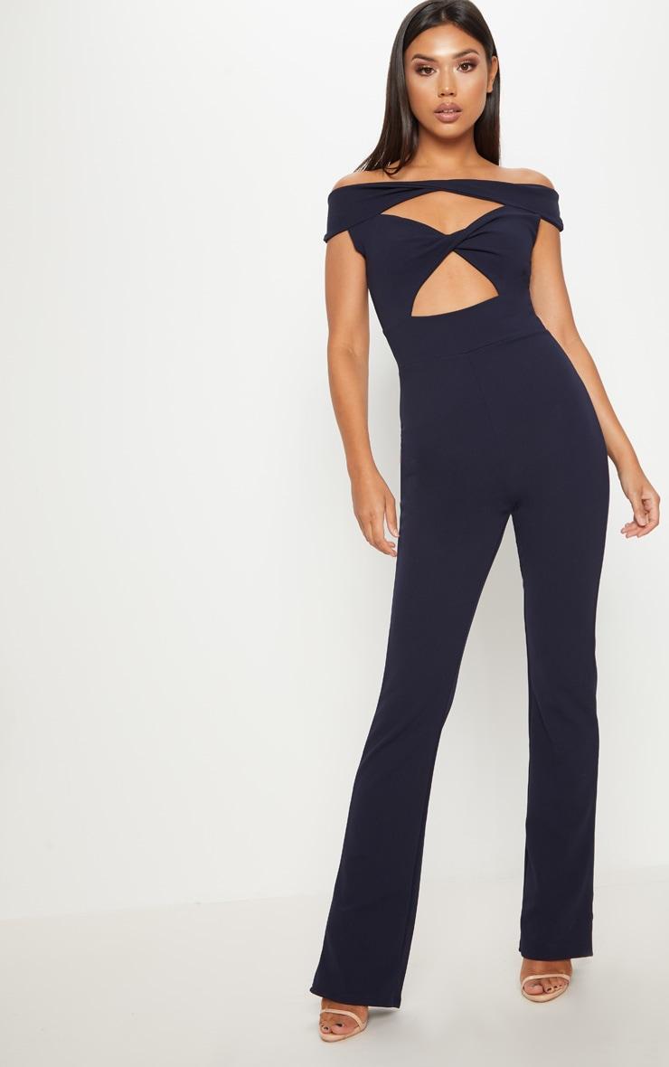 Navy Bardot Twist Front Jumpsuit  1