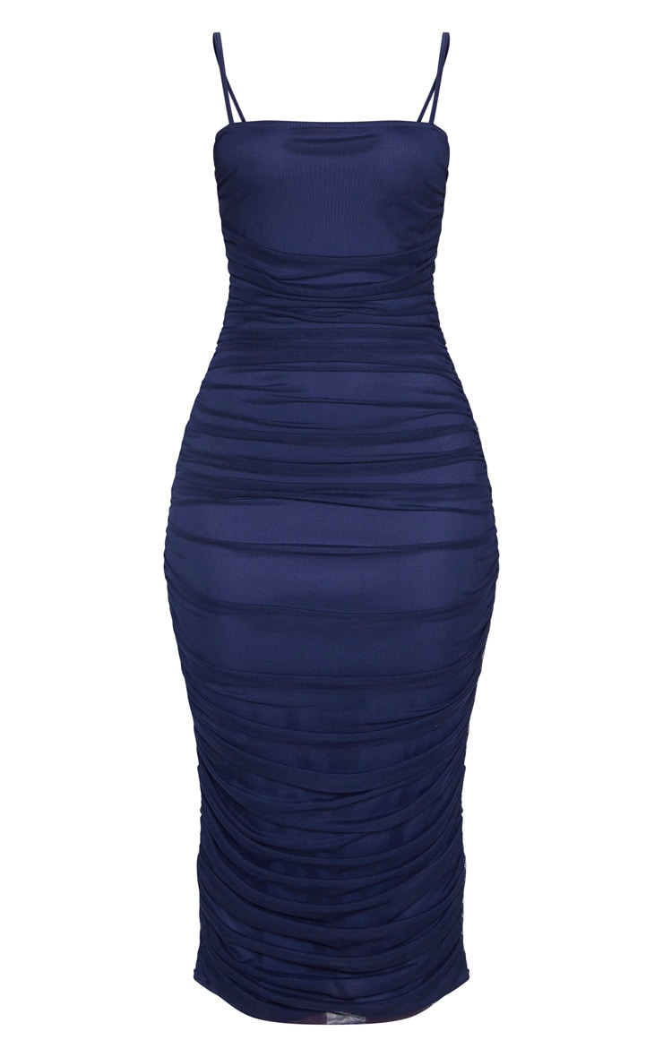 Navy Strappy Mesh Ruched Midaxi Dress 3