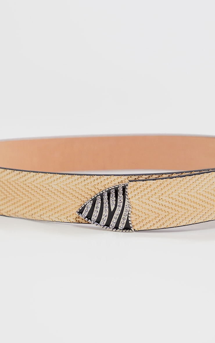 Natural Western Diamante Zebra Buckle Belt 4