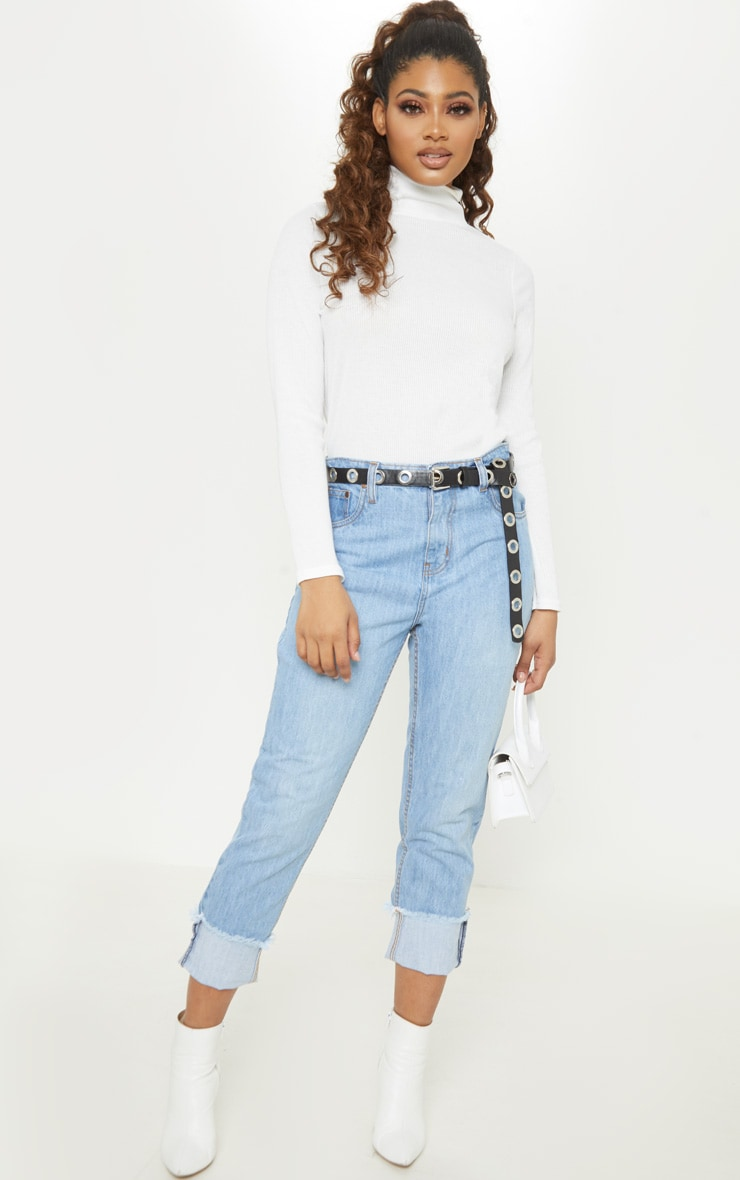 Tall Light Wash Cropped Turn Up Mom Jeans 1