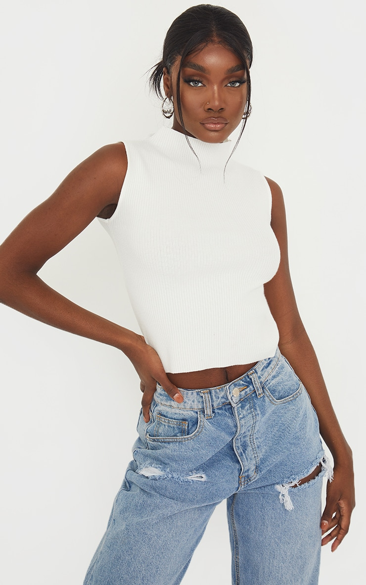 Tall Cream Ribbed Longline Turtle Neck Top 1