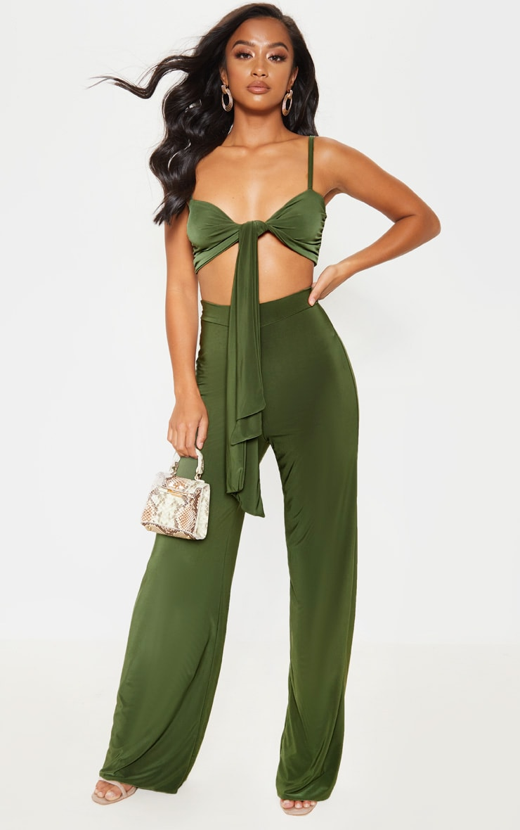 Petite Slinky Olive Green Strappy Tie Front Crop Top 4