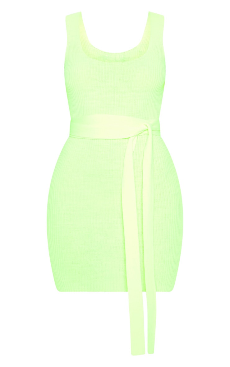 Neon Lime Knitted Tie Detail Bodycon Dress 3