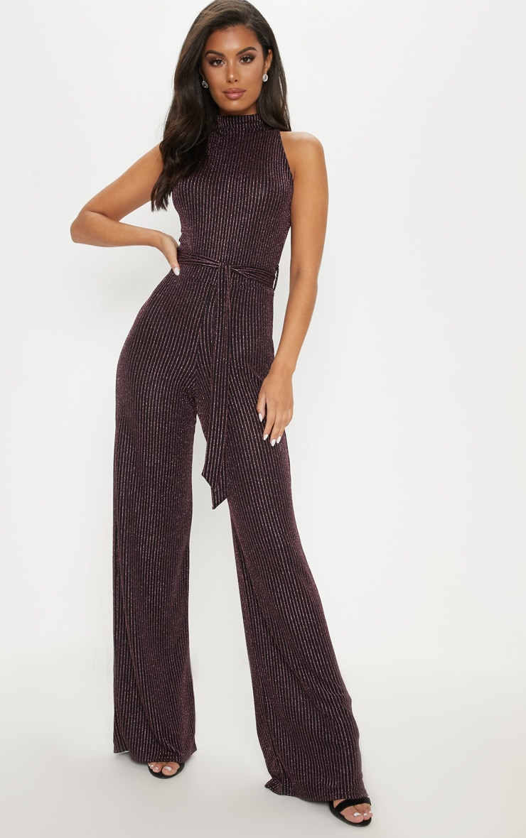 Hot Pink Glitter Zip Detail High Neck Jumpsuit