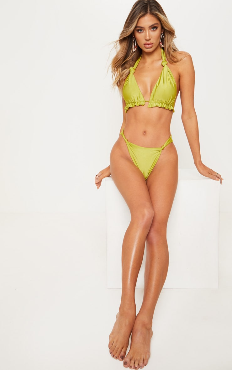 Olive Knotted Ruched Triangle Bikini Top 4
