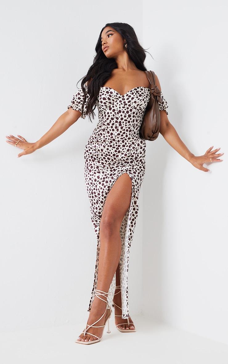 Stone Dalmatian Print Wrap Bardot Maxi Dress 1