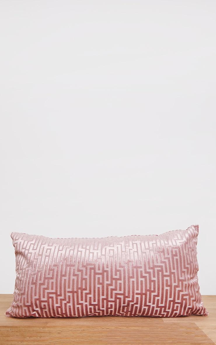 Dusty Pink Jacquard Velvet Rectangular Cushion 3