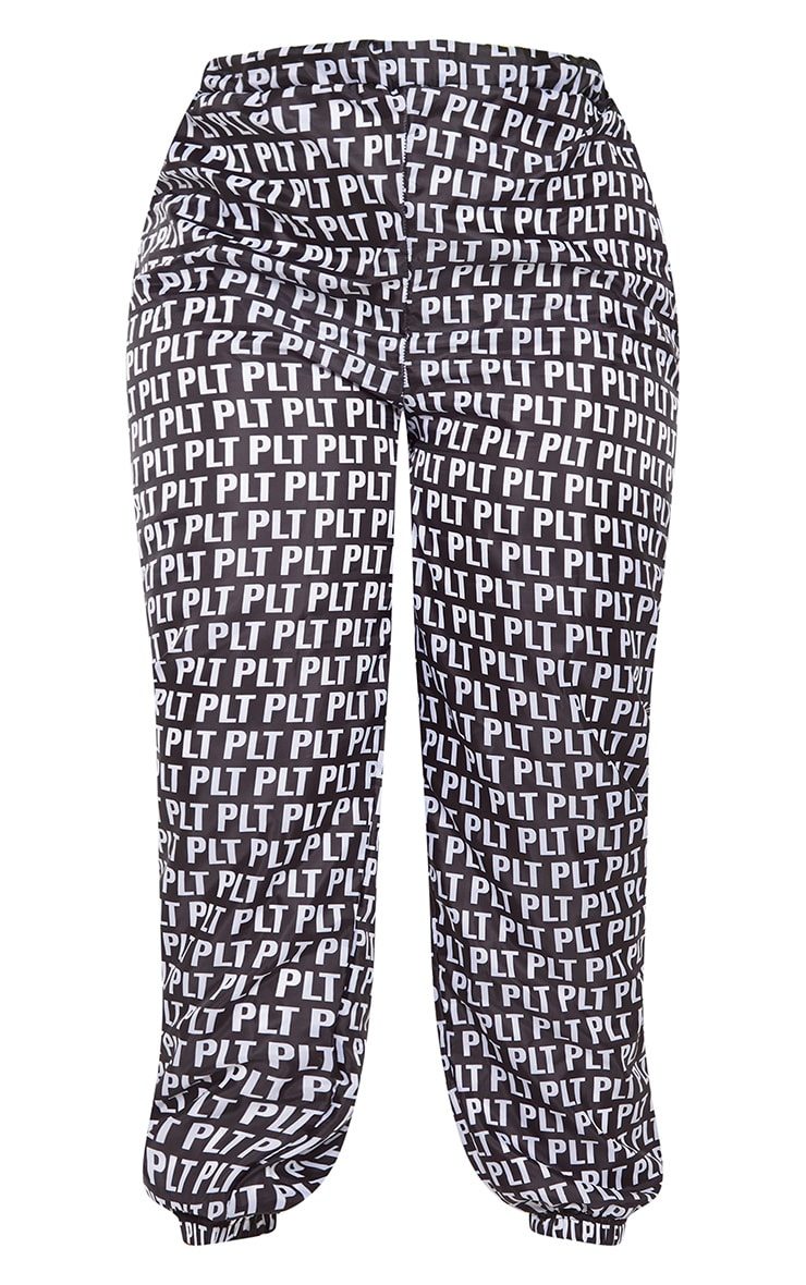 PLT Plus Black Monochrome Printed Shell Cuff Jogger 3
