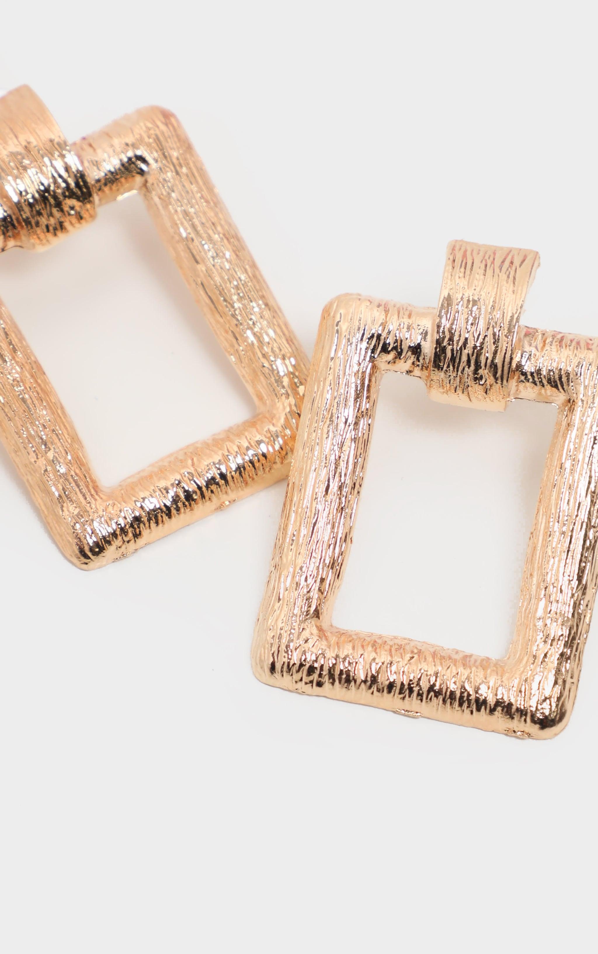 Gold scratch Effect Rectangle Door knocker Earrings   3