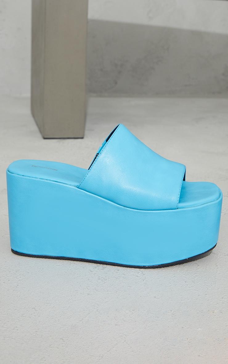 Bright Blue PU Square Toe Platform Mules 4