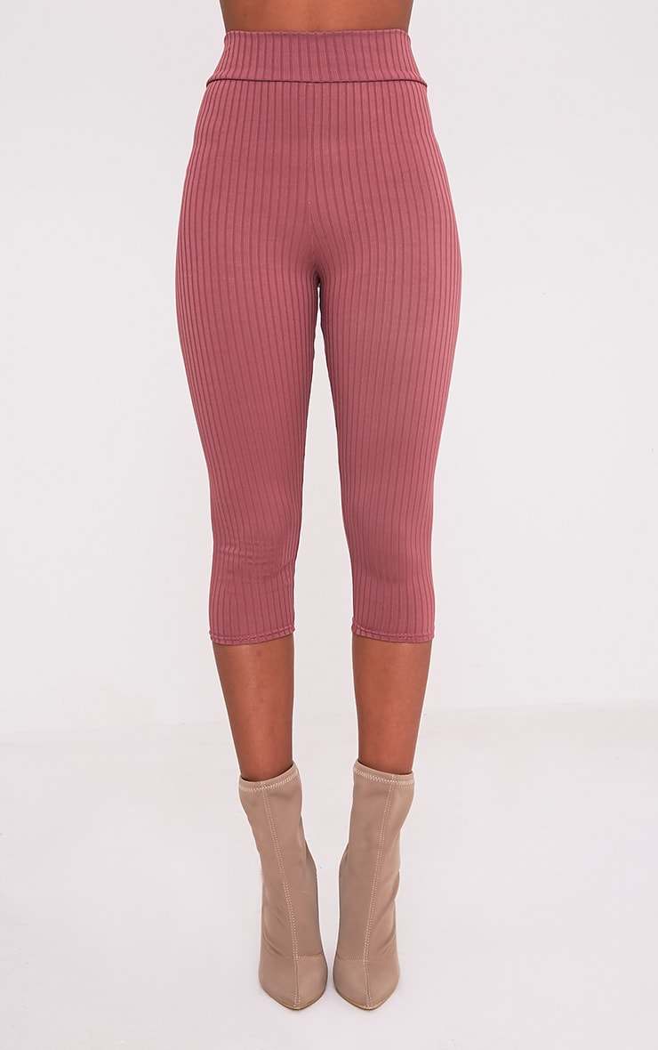 Harlie Rose Cropped Ribbed High Waisted Leggings 3