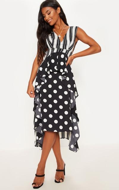 Black Stripe Contrast Frill Midi Dress 7d1759fd0