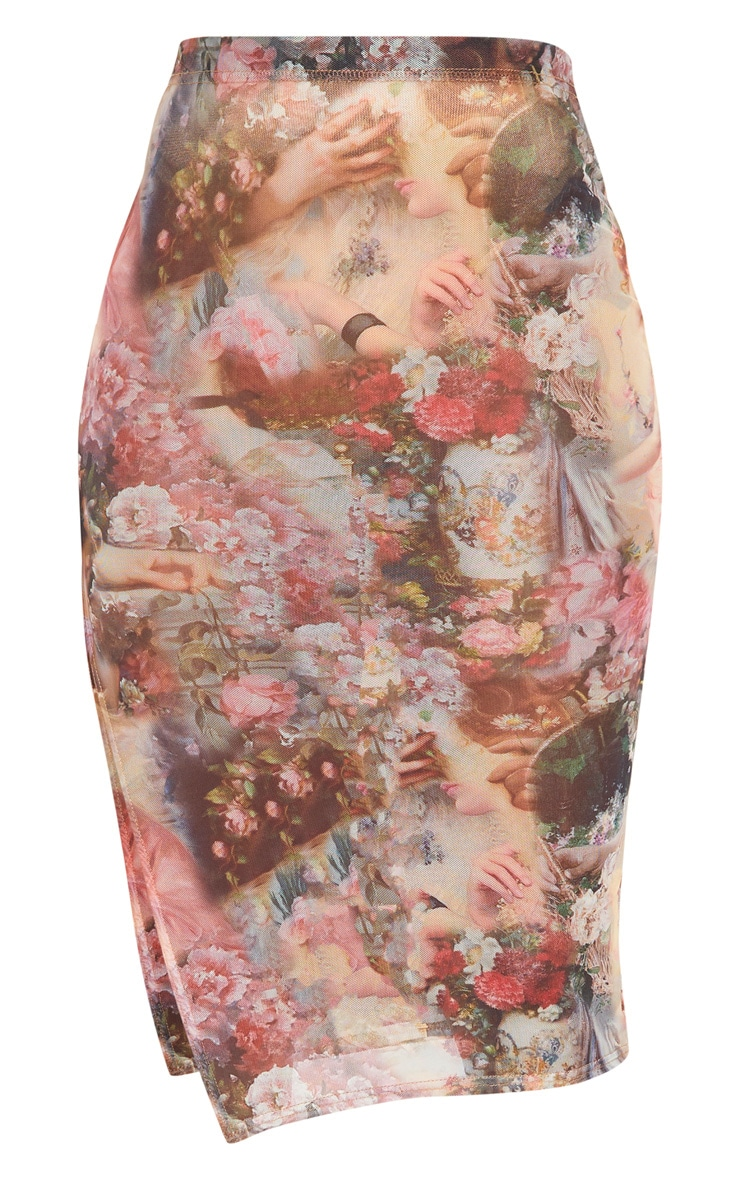 Rose Renaissance Print Mesh Midi Skirt  3