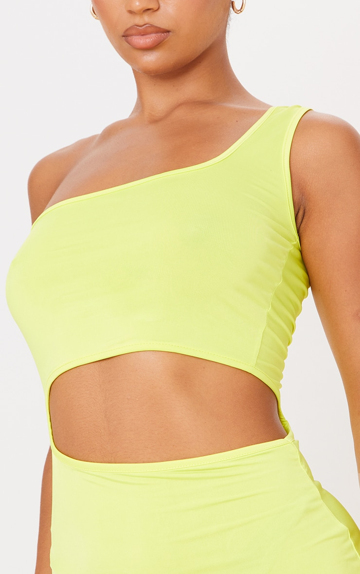 Lime Slinky One Shoulder Waist Cut Out Bodycon Dress 4