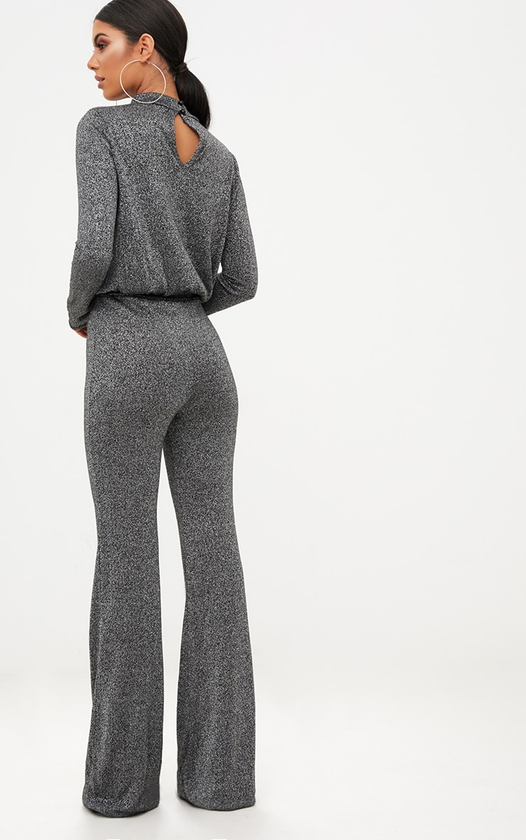 Grey Metallic Keyhole Cut Out Jumpsuit 2