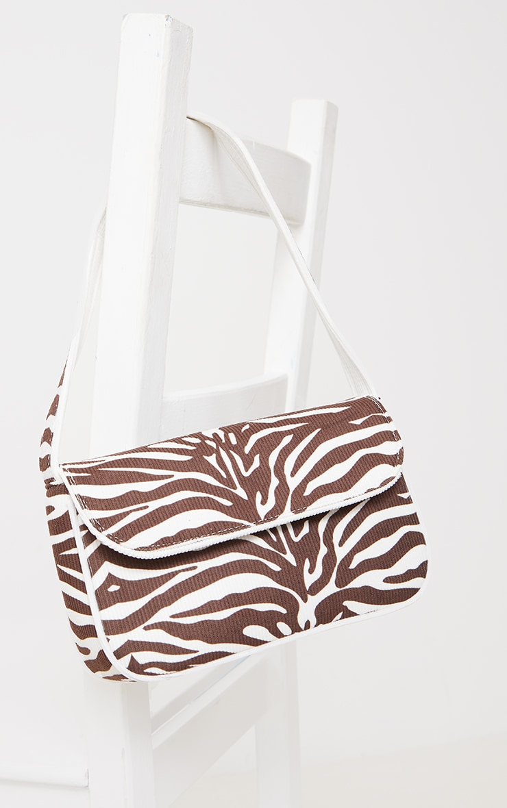 Chocolate Cord Zebra Shoulder Bag 2