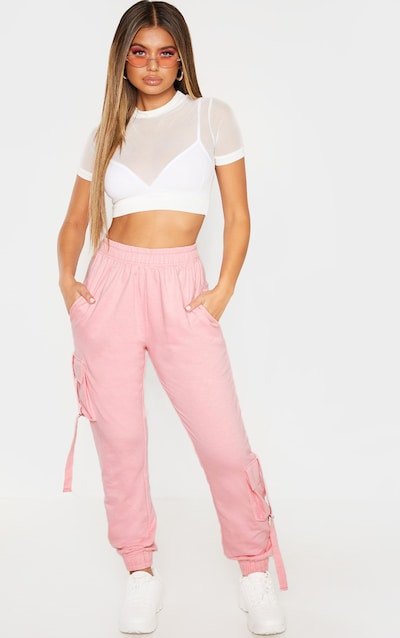 Baby Pink Cargo Detail Casual Joggers
