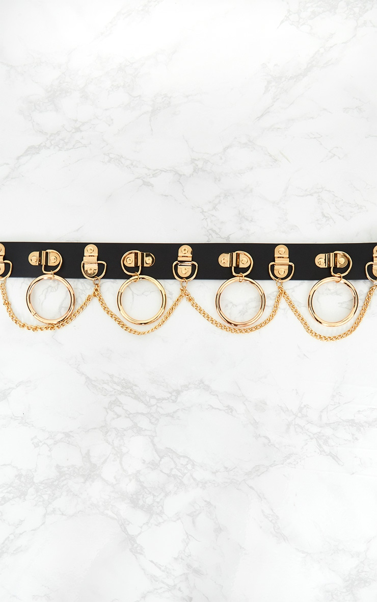 Black Gold Chained Hoops Belt 3