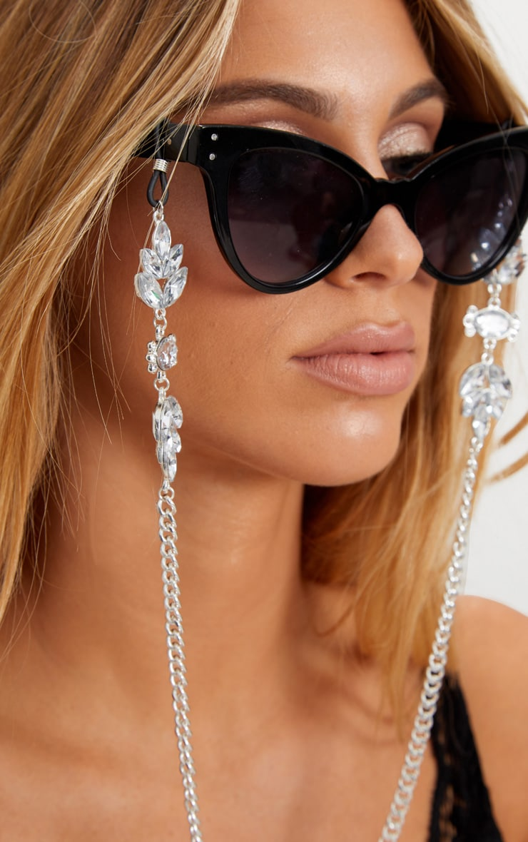 Silver Floral Gem Sunglasses Chain 2