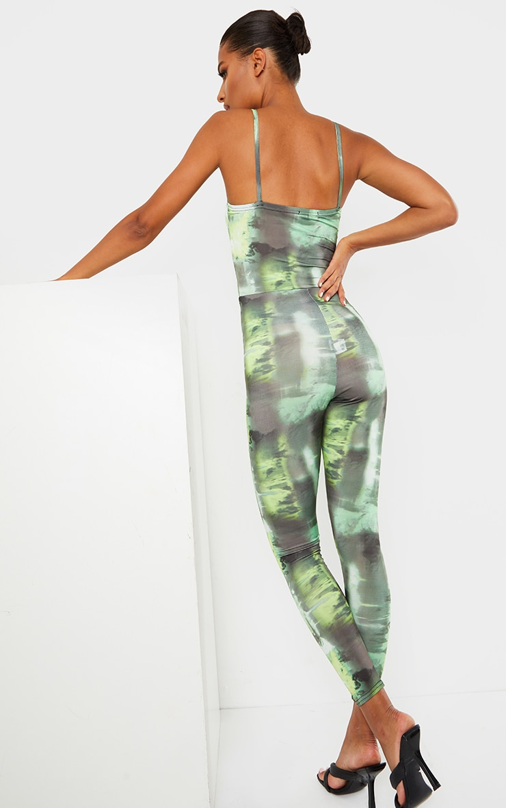 Green Tie Dye Strappy Ruched Front Jumpsuit 2