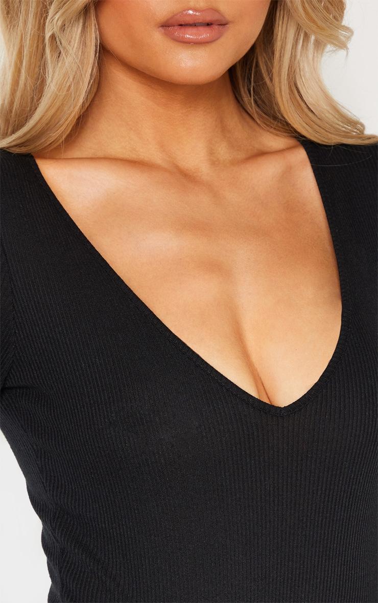 Tall Black Ribbed Plunge Long Sleeve Bodysuit 5