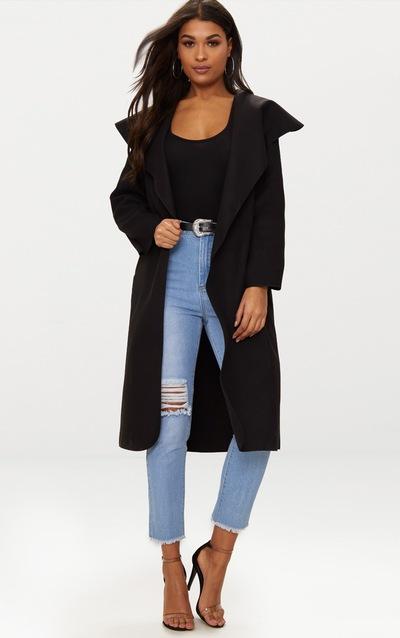 Veronica Black Oversized Waterfall Belt Coat